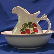 McCoy Pottery Strawberry Decorated Pitcher And Bowl Set