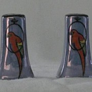 Blue Luster Parrot Decorated Salt And Pepper Shakers