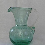 Pale Green Crackle Glass Pitcher