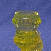 Degenhart Vaseline Glass Toothpick Holder In Bird Form