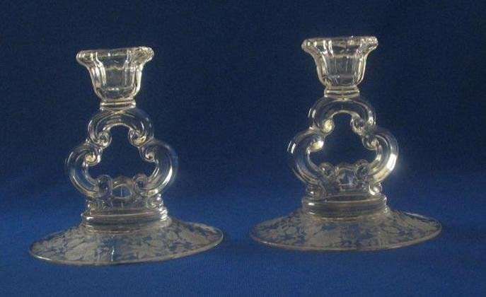 """Etched Cambridge Glass """"Wildflower"""" Candlesticks"""