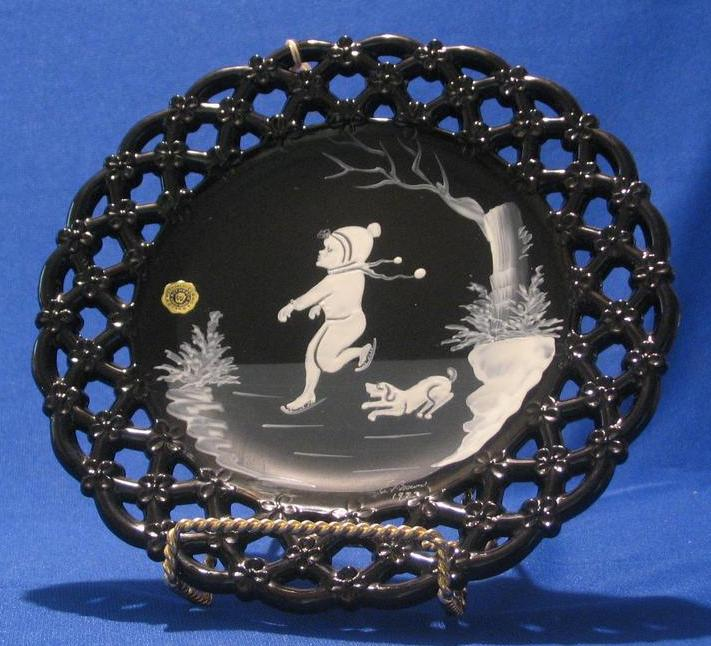 "Artist Signed ""Mary Gregory"" Plate By Westmoreland Glass"