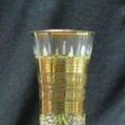 Clear Glass Hand Enameled Bud Vase