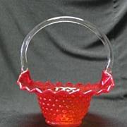 Kanawha Amberina Hobnail Basket With Clear Handle