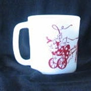 Milk Glass Clown Decorated Coffee Cup