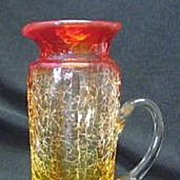 Three Colored Crackle Glass Pitcher