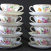 SOLD Set Of Eight Dresden  Hand Painted Bullion Cups And Saucers