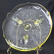 "Lancaster Glass ""Landrum"" Scroll Footed Cake Plate"