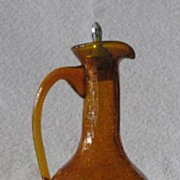 Crackle Glass Cruet With Chrome Topped Cork Stopper