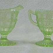 Imperial Glass Beaded Block Opalescent Sugar And Creamer
