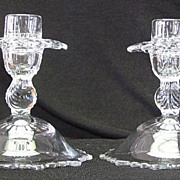 Pair of Dome Footed Pressed Glass Candlesticks
