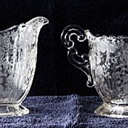 "Cambridge ""Rose Point"" Sugar And Creamer Set"