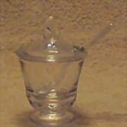 """Fostoria """"Century"""" Pattern Mustard Jar With Spoon"""