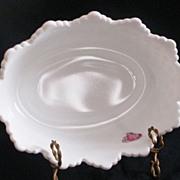 Fenton Milk Glass Hobnail Bowl With Foil Label