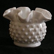 SOLD Pre Logo Fenton Milk Glass Hobnail Rose Bowl