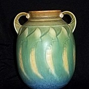 Roseville Pottery Falline Two Handled Vase With Original Label