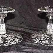"""SOLD Cambridge """"Rose Point"""" Footed Single Candlesticks"""