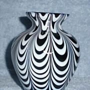 Black Art Glass Vase With White Draping