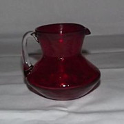 Small Red Crackle Glass Pitcher With Attached Handle