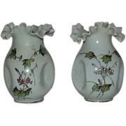 Pair Of Victorian Hand Decorated Vases