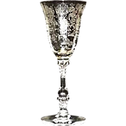 "Cambridge ""Rose Point"" Etched Wine Glass"