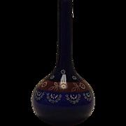 Cobalt Blue Enamel Decorated Barber Bottle