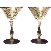 """Pair Of Cambridge Glass """"Rose Point"""" Champagne Goblets"""