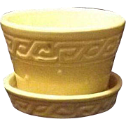 McCoy Pottery Yellow Greek Key Pattern Violet Pot