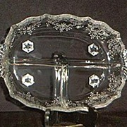 """Fostoria """"Meadow Rose"""" Etched Three Part Relish Dish"""