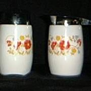 SALE Floral Milk Glass Creamer And Sugar Shaker