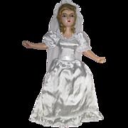 SOLD Authentic Vintage Small Boudoir Standard Bride Doll Composition Head Arms Shoes-KK