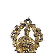 SALE RARE Late Renaissance Silver Gilt Pendant of Mary/Jesus Enthroned, c.1600!