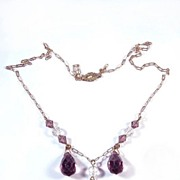 ELEGANT Edwardian Sterling and Amethyst/Rock Crystal Drop Necklace, c.1910!