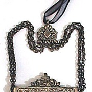 SALE MAGNIFICENT Old Bulgarian Church Silver Traveling Pyx and Chain, c.1650!