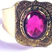 RESPLENDENT Early Victorian 14k/Ruby Paste Custom-Made Bracelet, 25.4 Grams, c.1844!