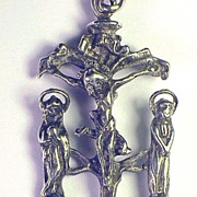 SALE MASTERPIECE Late Medieval Sterling Devotional Pendant, Christ w/Mary and John, Referenced