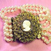 SALE SUPERLATIVE Pinchbeck Cannetille & Cameo/Six-Strand Akoya Cultured Pearl Bracelet, c.1825