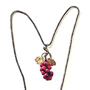 DESIRABLE Victorian 9k Necklace w/14k Coral Grape Cluster Pendant, c.1870!