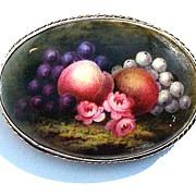 BOUNTIFUL Large Hand-Painted 9k Pendant/Brooch, Fruit & Flowers, c.1885!