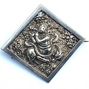 EXOTIC Victorian Colonial Indian Sterling Repousse Brooch, Hindu Deity, c.1865!