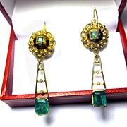 SOLD ULTIMATE 1.9 CT Muzo Mine Emerald/Diamond/18k Drop Earrings, c.1820/1910!