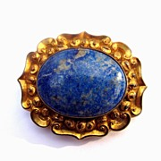 GRAND Early Victorian Lapis Lazuli/10kt Repousse Brooch, 27.2 Grams, c.1845!
