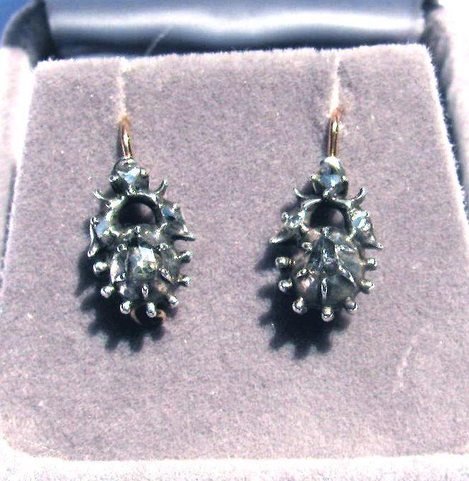 ENCHANTING Georgian Rose-Cut Diamond/15k Drop Earrings c.1795!