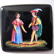 SALE CHARMING Victorian Hand-Painted Swiss Enamel/Sterling Brooch, Romeo and Juliet, c.1845!