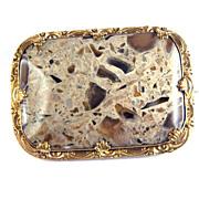 TASTIEST XL Late Georgian Pudding Stone/Pinchbeck Brooch, c.1830!