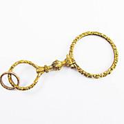 "ORNATE  3 1/4"" Georgian Gold-Cased Quizzing Glass w/Original Split Ring, c.1830!"