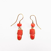 SALE CHARMING Early Victorian Coral/12k Acorn Earrings, c.1840!