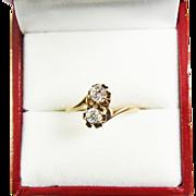 "SALE DAZZLING Edwardian .58 Ct. TW Transitional Cut Diamond/10k ""Toi Et Moi"" Ring, c"