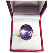 SALE SO REGAL Regency 15.9 Ct. Amethyst Solitaire/9kt Ring, 10.64 Grams, c.1805!