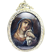 SALE MASTERPIECE Italian Silver Gilt Reliquary Pendant w/Oil on Copper Portrait of Maria ...